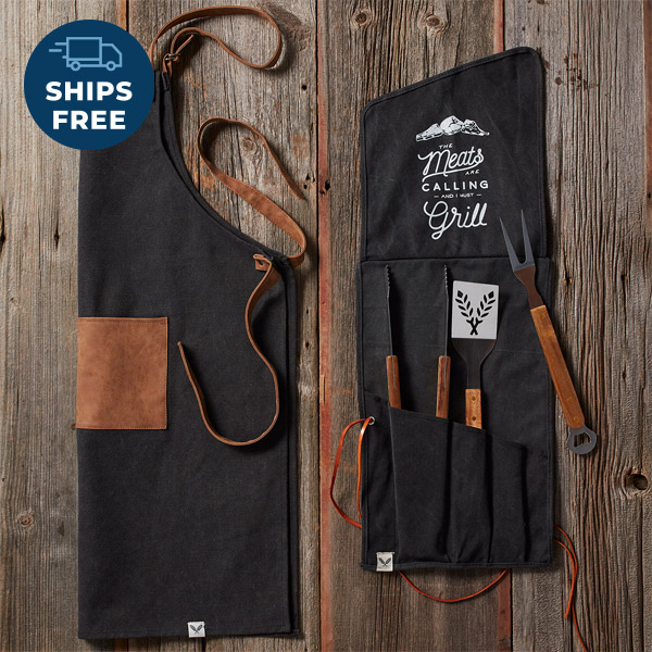 Grilling apron & tool set